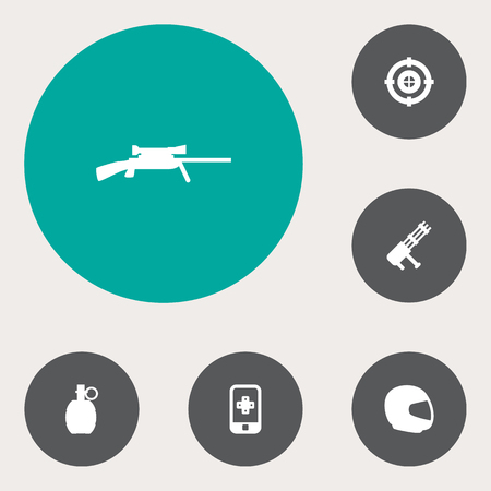 Set of 6 gaming icons set. Collection of gatling gun, sniper, mobile game and other elements. Illustration