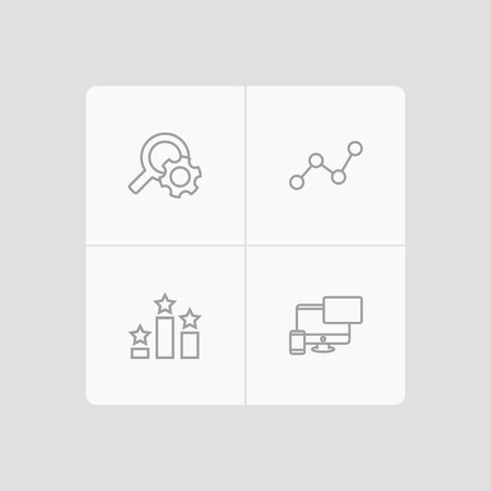 Set of 4 search icons line style set. Collection of monitoring, ranking, responsive and other elements.