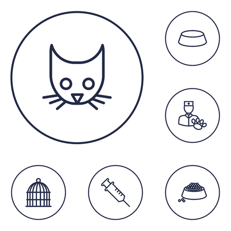 Set of 6 mammal icons line style set. Collection of birdcage, veterinarian, dish and other elements.