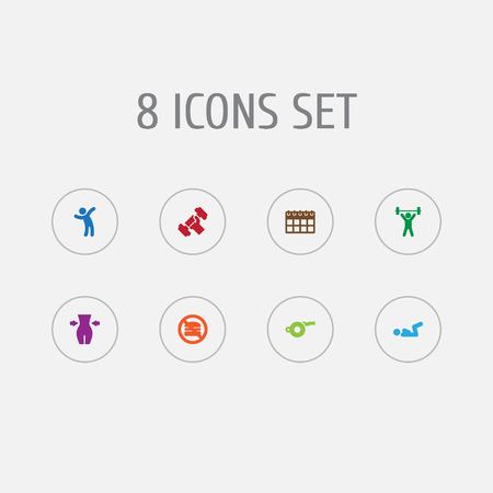 Set of 8 bodybuilding icons set. Collection of aerobic, weight loss, workout and other elements.