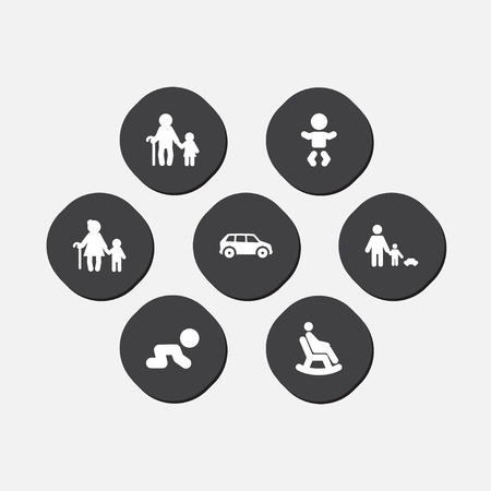 Set of 7 people icons set. Collection of car, crawling kid, grandpa elements. 矢量图像
