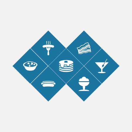 Set of 7 dish icons set. Collection of bacon, sausage, ice cream and other elements.