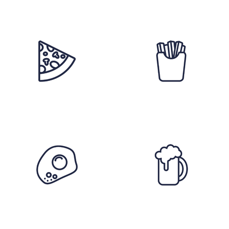 Set of 4 food icons line style set. Collection of potato, pizza, eggs and other elements. Stock Illustratie