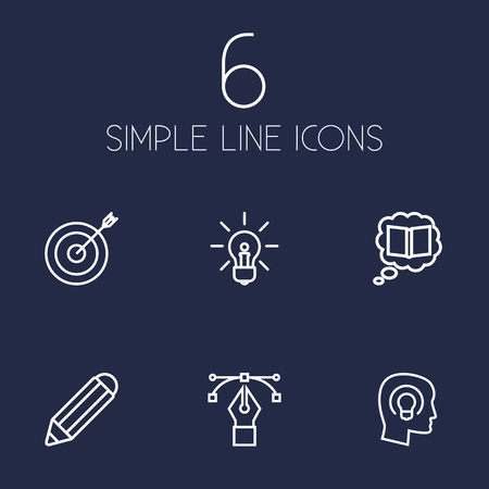 Set of 6 creative icons line style set. Collection of pen, science, idea and other elements. Stock Illustratie