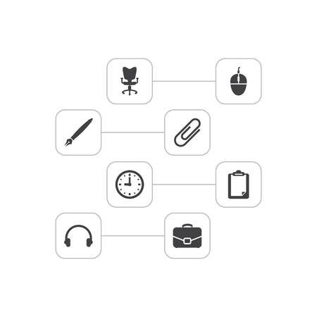 Set of 8 cabinet icons set. Collection of clock, workplace, headphone and other elements.