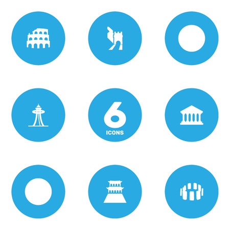 Set of 6 famous icons set. Collection of space needle, stonehenge, colosseum and other elements.