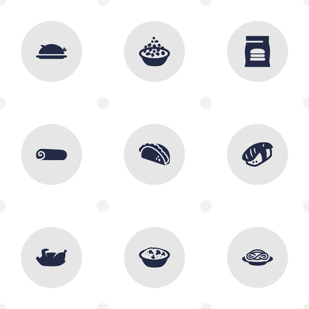 Set of 9 food icons set. Collection of burrito, fast food, grilled and other elements.