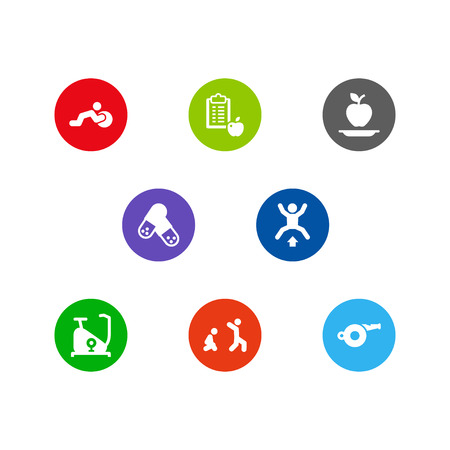 Set of 8 bodybuilding icons set. Collection of exercise bike, burpees, activity and other elements.