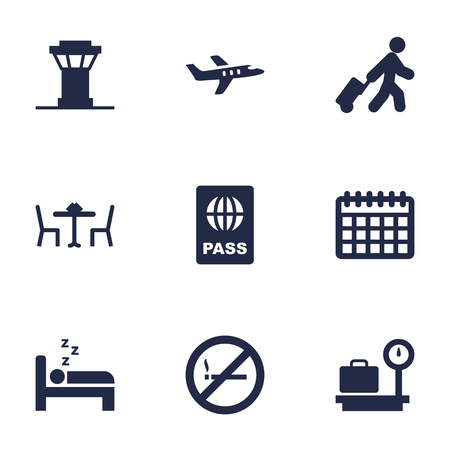 Set of 9 aircraft icons set. Collection of control tower, bed, calendar and other elements.