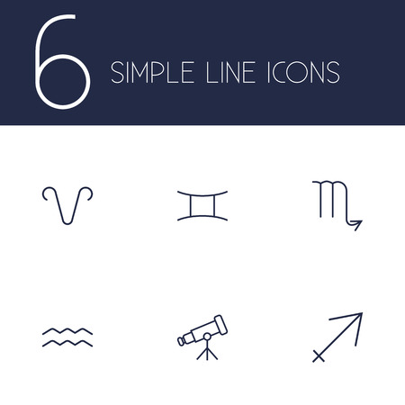 Set of 6 astrology icons line style set. Collection of binoculars, archer, water bearer and other elements.