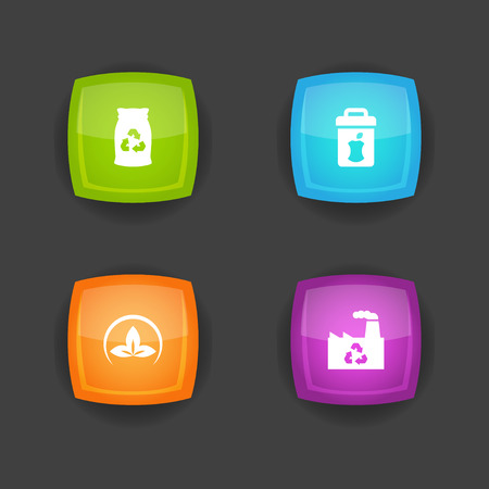Set of 4 ecology icons set. Collection of junk, trashcan, eco and other elements.