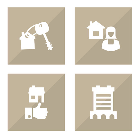 Set of 4  icons set. Collection of opening, broker, building and other elements.