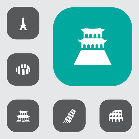 Set of 6 famous icons set. Collection of tienanmen square, eiffel tower, beijing and other elements.