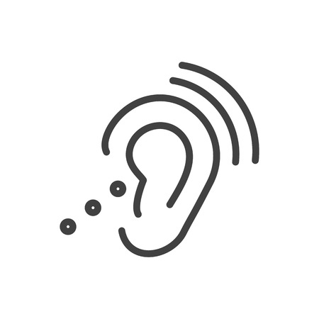 Isolated assistive technology icon line symbol on clean background.  listening device element in trendy style.
