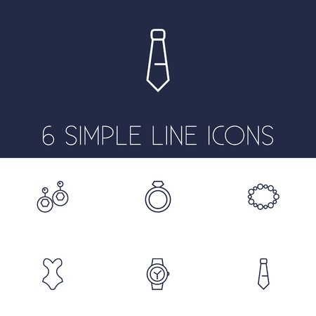 Set of 6 decorating icons line style set. Collection of ring, bracelet, swimsuit and other elements.  イラスト・ベクター素材