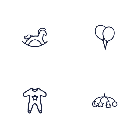 Set of 4 baby icons line style set. Collection of equine, hangings, decoration and other elements.