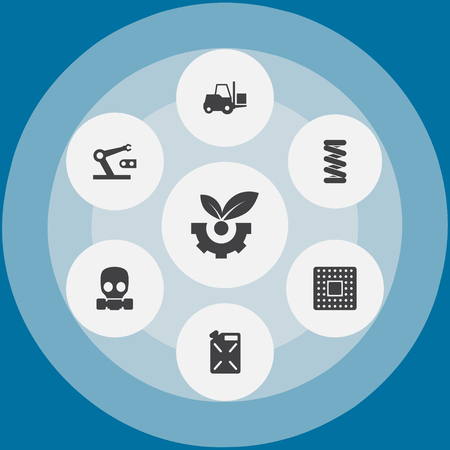 Set of 7 technology icons set. Collection of forklift, microprocessor, gas mask and other elements. 免版税图像