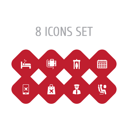 Set of 8 plane icons set. Collection of detector, pilot, passenger and other elements.