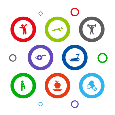 Set of 8 fitness icons set. Collection of healthy eating, running track, pills and other elements. 写真素材
