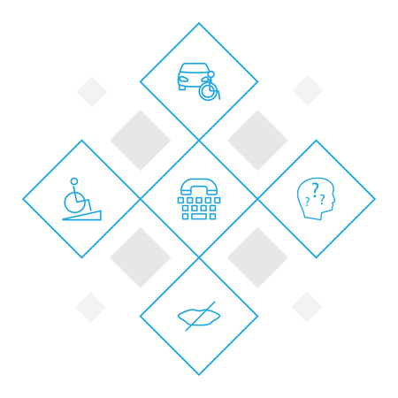 Set of 5 accessibility icons line style set. Collection of mute, mental disease, car and other elements.
