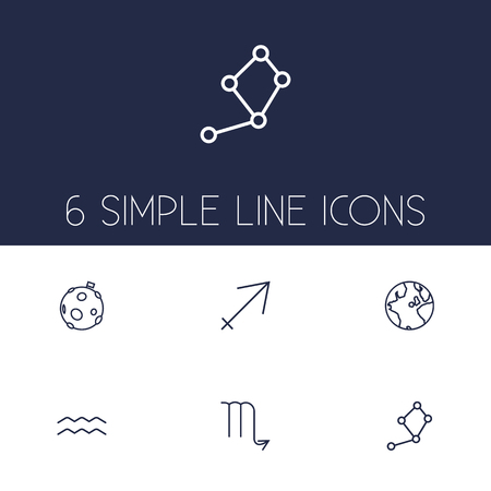 Set of 6 astrology icons line style set. Collection of archer, lunar, horoscope and other elements.