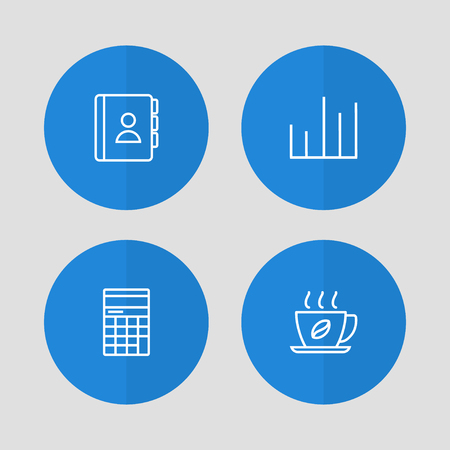 Set of 4 bureau icons line style set. Collection of diagram, calculator, address book and other elements.