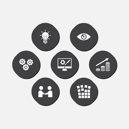 Set of 7 business icons set. Collection of partnership, working process, idea and other elements.