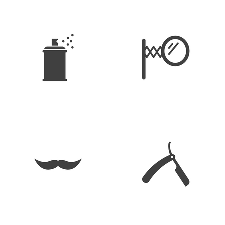 Set of 4 barbershop icons set. Collection of straight razor, mirror, spray and other elements.