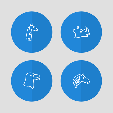 Set of 4 animal icons line style set. Collection of zebra, aquila, camelopard and other elements.