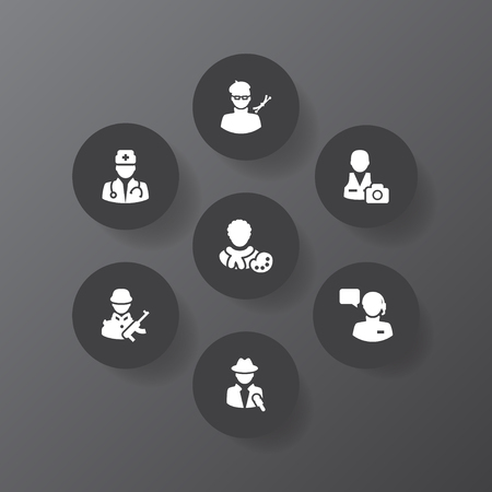 Set of 7 job icons set. Collection of doctor, operator, designer and other elements. Imagens