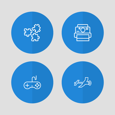 Set of 4 hobbie icons line style set. Collection of flying, joystick, photo camera and other elements.