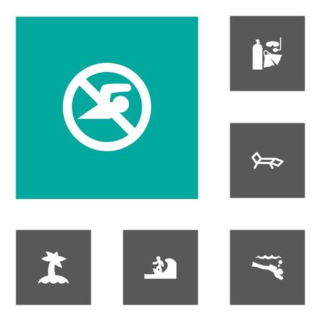 Set of 6 coast icons set. Collection of sunbed, surfer, island elements. Stock fotó