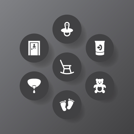 Set of 7 baby icons set. Collection of nipple, teat, moving furniture and other elements. Vettoriali