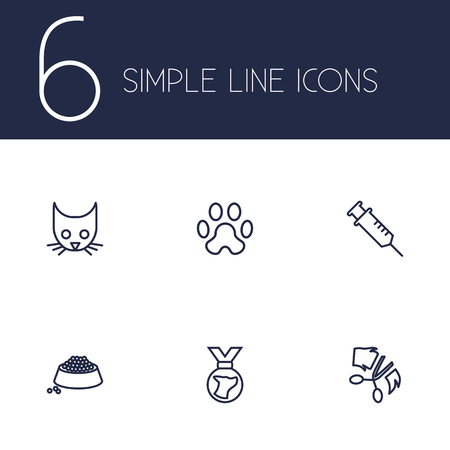 Set of 6 animals icons line style set. Collection of food, medallion, injection and other elements.