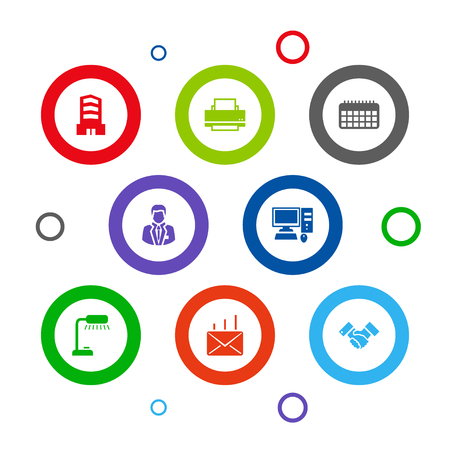 Set of 8 cabinet icons set. Collection of partnership, building, post and other elements.