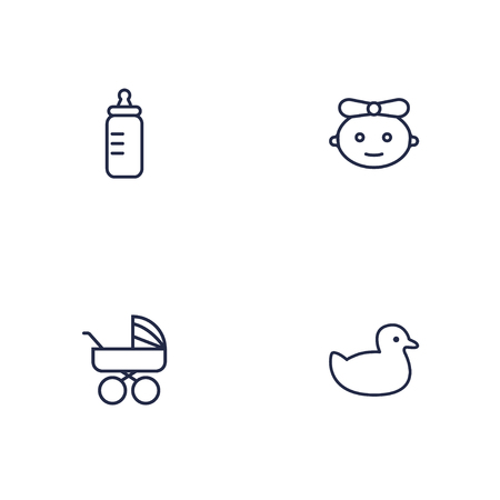 Set of 4 kid icons line style set. Collection of duck, feeder, girl and other elements. Imagens
