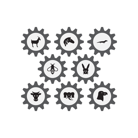 Set of 8 animal icons set. Collection of zebra, eagle, cow and other elements.