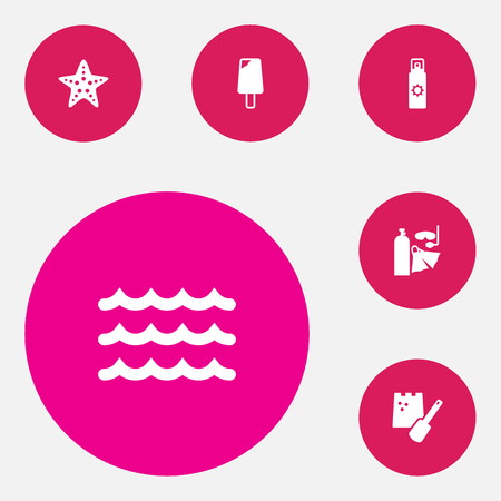 Set of 6 seaside icons set. Collection of tanning spray, sand castle, ice cream elements. Illustration