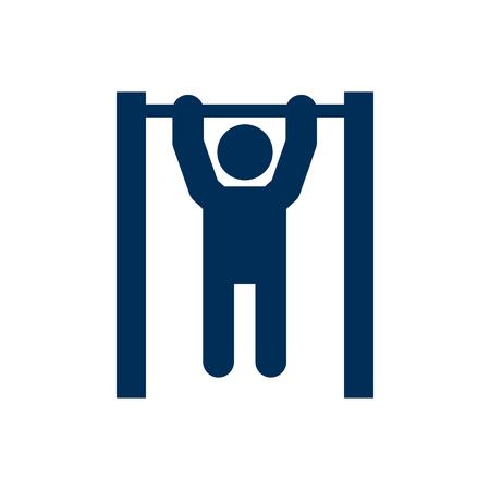 Isolated pulls up on horizontal bar icon symbol on clean background. Vector fitness element in trendy style. Illustration