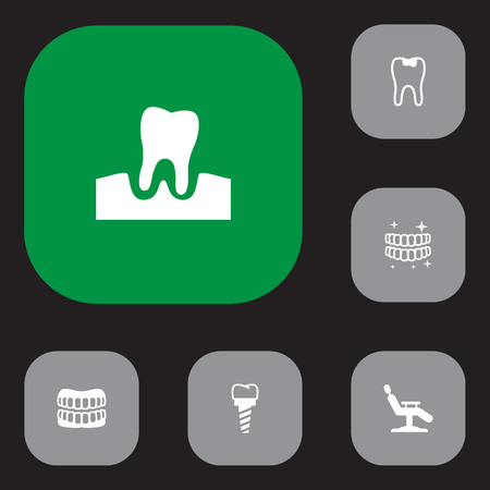 Set of 6 dental icons set. Collection of seal, chair, denture and other elements.