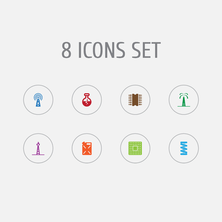 Set of 8 technology icons set. Collection of fuel canister, chemical, mechanical spring and other elements.