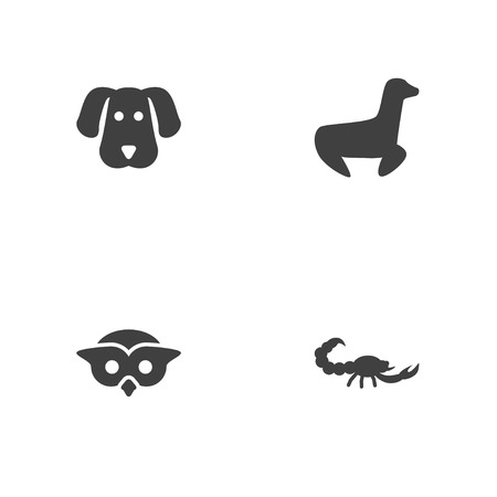 Set of 4 animal icons set. Collection of scorpion, dog, owl and other elements.