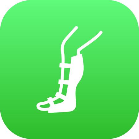 Isolated broken leg icon symbol on clean background. Vector splint element in trendy style. Illustration