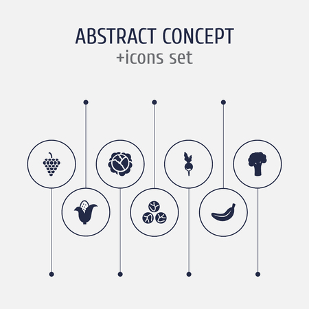 Set of 7 vitamin icons set. Collection of corn, grape, brussels sprouts and other elements.