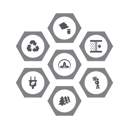 Set of 7 bio icons set. Collection of recycling, eco, afforestation and other elements.