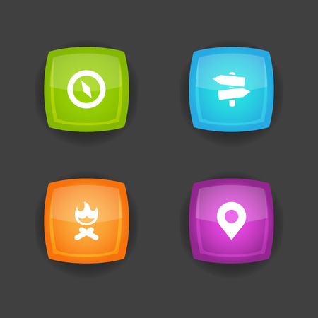 Set of 4 outdoor icons set. Collection of guidepost, place pointer, compass and other elements. 向量圖像