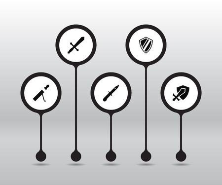 Set of 5 gaming icons set. Collection of sword, shield, protection and other elements.