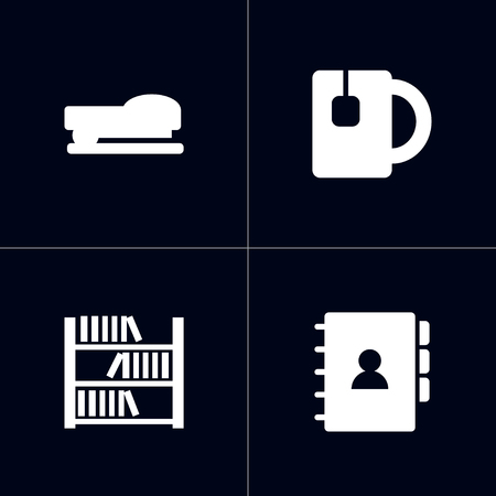 Set of 4 bureau icons set. Collection of tea, bookshelf, address and other elements. 免版税图像