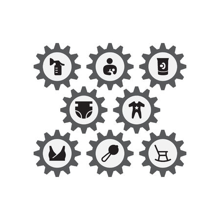 Set of 8 kid icons set. Collection of care, teat, romper and other elements.