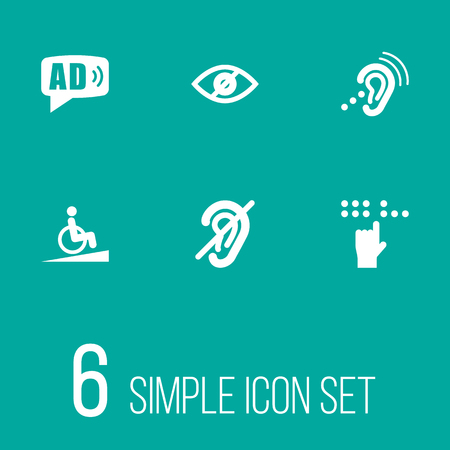 Set of 6 accessibility icons set. Collection of springboard, assistive technology, no looking and other elements.